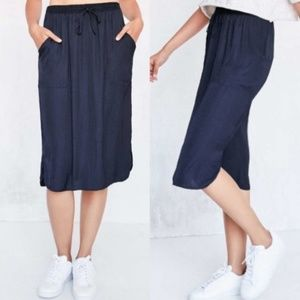 Silence + Noise UO Urban Outfitters Navy Blue Silk